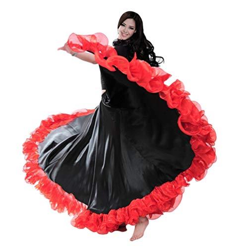 Damen Kostüm Flamenco - Kairuun Damen Bauchtanz Rock Orientalische Kostüme Tanzrock Jujube rot/Schwarz