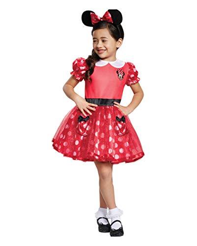 Horror-Shop Minnie Mouse Kinder Kostümkleid Rot für Karneval und Halloween M