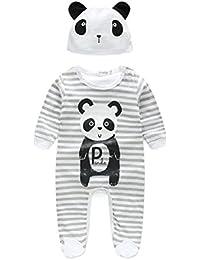 SMARTLADY - Mameluco de Bebé Niña Niño Panda Rayas Pijama Rompers con Sombrero Manga Larga Gris
