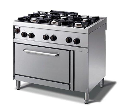 Cocina de gas de 6 fuegos con horno de gas, 1000 x...
