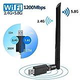 FREESOO USB WiFi Adaptador 1200Mbps WiFi Antena USB 3.0 5dbi Largo Alcance Dual Band 2.4GHz/5.8GHz para Desktop/Laptop/PC Receptor WiFi Dongle Soporte Windows 10/8.1/8/7/Vista/XP MacOSX 10.5-10.13