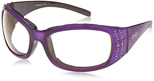 Global Vision Eyewear Marilyn 224Plus Serie Sonnenbrille mit Crystal Reflection violett Bilderrahmen und klar Photochromatisch Objektive