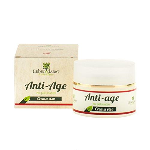 Crema Viso Antirughe, Per Pelli Mature, Naturale Erbecedario Anti-Age Per Uomo e Donna, 1 Vasetto da 50ml
