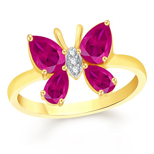 Vk Jewels Butterfly Ruby Gold Brass Alloy Cz American Diamond Ring for Women Vkfr2103G10  available at amazon for Rs.209
