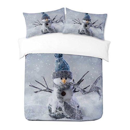 Adam Home 3D Digital Printing Bett Leinen Bettwäsche-Set Bettbezug + 2x Kissenbezug - Snowman With Blue Cap (Alle Größen)