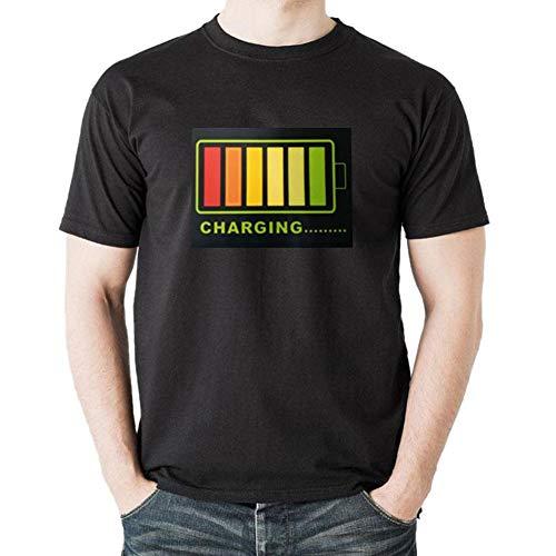 Riverry Leuchtendes T-Shirt, elektrisches Unisex-Mengenmuster Blinkendes LED-T-Shirt, Sprachsteuerung Leuchtendes T-Shirt für Männer und Frauen