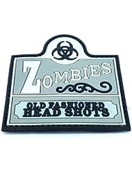 Zombies Old Fashioned Head Shots parche de velcro para Airsoft, color gris