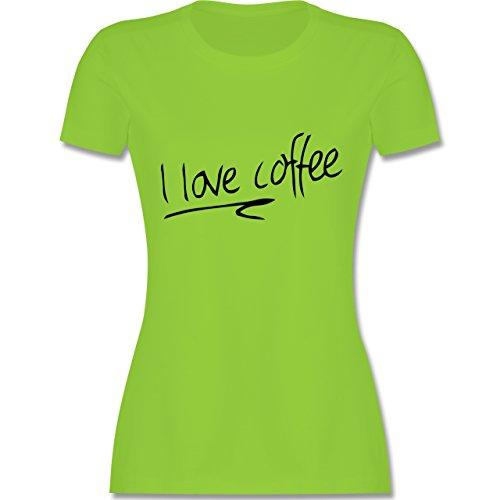 Küche - I Love Coffee - tailliertes Premium T-Shirt mit Rundhalsausschnitt  für Damen Hellgrün