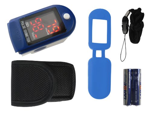 Finger Pulsoximeter Blau Tiga 50 DL / CMS-50DL Fingerpulsoxymeter mit viel Zubehör + Batterien + SPO2 Sättigung dt. Fachhändler Garantie