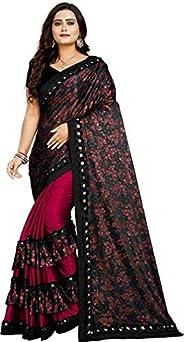Market Magic World Women's Printed Malai Silk Saree With Bl