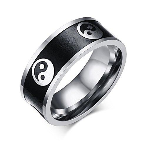 Epinki Herrenringe 8MM Edelstahl Zwei-Ton Yin Yang Tai Chi Ringe für Herren Gr.54 (17.2)