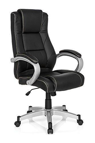 Bürostuhl Chefsessel RELAX CL180 Kunst-Leder Schwarz Weiß, Ergonomischer Schreibtisch-Stuhl, X-XL Büro-Drehstuhl, Armlehnen, hohe Rückenlehne, Home-Office, Wipp-Mechanik 120-kg MyBuero 725012