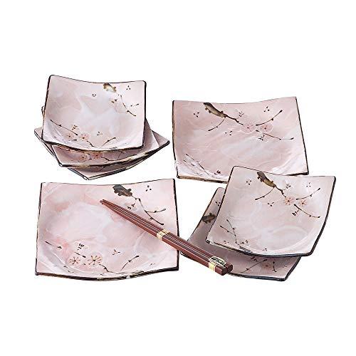 Minoyaki Sakura Pink Cherry Blossom Geschirr-Set (7 Teller und 1 Paar Essstäbchen), hergestellt in Japan Cherry Blossom Teller