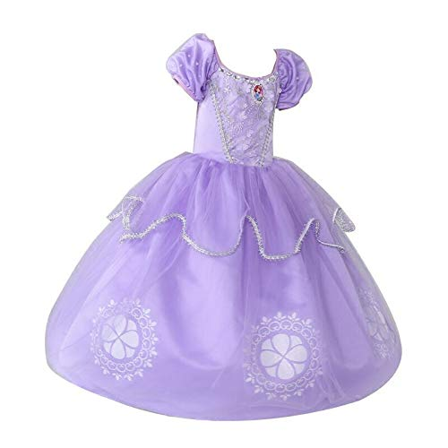 GONGX Sophia Prinzessin Kleid Mädchen Herbst Kostüm Halloween Kinderkleidung,Purple,S
