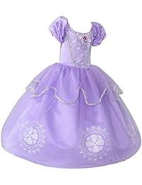 GONGX Sophia Princess Dress Girl Autumn Disfraz para niños de Halloween Morado Morado S