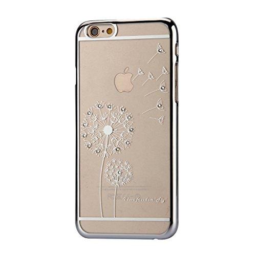 iPhone 6 Plus Hülle,iPhone 6S Plus Bling Case - Felfy Luxe Ultradünnen Weich Silikon TPU Silikon Handy Hülle Schutzhülle Durchsichtig Bling Glitzer Sparkles Shiny Case Kratzfest Bumper Soft Rückseite  Löwenzahn Silver