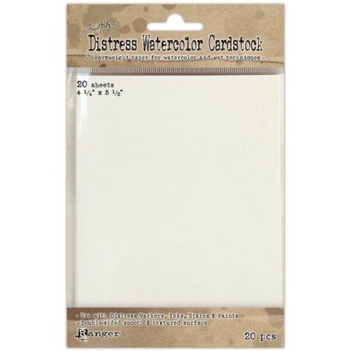 Ranger TDA39549 Distress Wasserfarben Fotokarton, 20-er Packung, Synthetic Material, weiß, 19 x 12.1 x 0.5 - Distress Papier