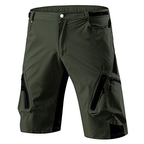 ALLY Herren Sport im Freien Kurze, Wasserdicht Freizeit Hosen, MTB-Kurzschlüsse (Armeegrün, XXL 36