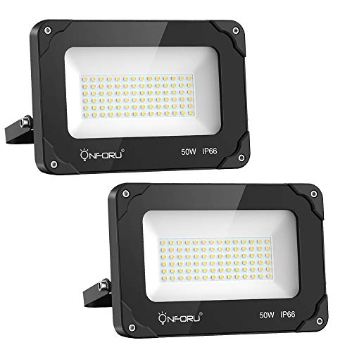 Onforu 50W Foco LED Exterior (2 Pack), 5500LM Super Potente Proyector LED,...