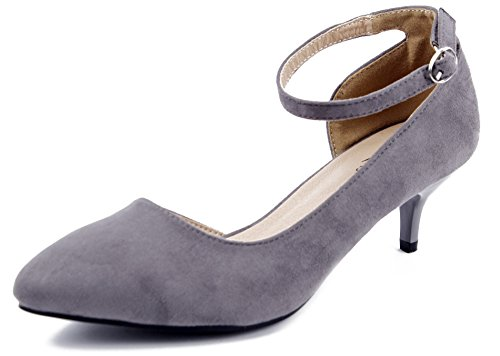 AgeeMi Shoes Damen Spitz Zehe Strap Schnalle Klassische Wildleder Pumps,EuD36 Grau 40 (Faux Schnalle Wildleder)
