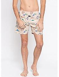 Nick & Jess Mens Beige Dinosaur Printed Cotton Boxer Shorts