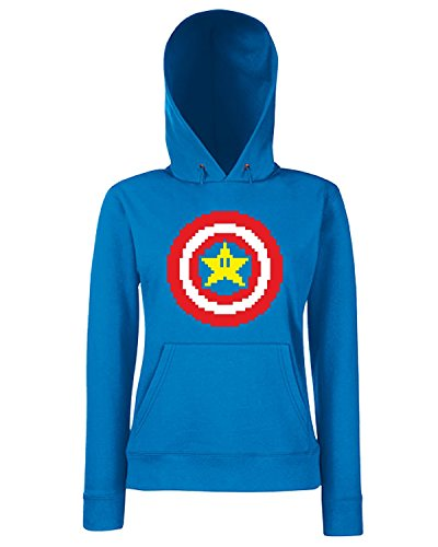T-Shirtshock - Sweats a capuche Femme TGAM0012 Captain pixel Bleu Royal