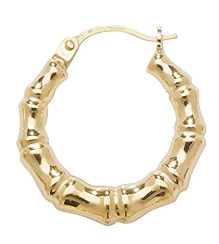 9ct Yellow Gold Medium Bamboo Creole Earrings