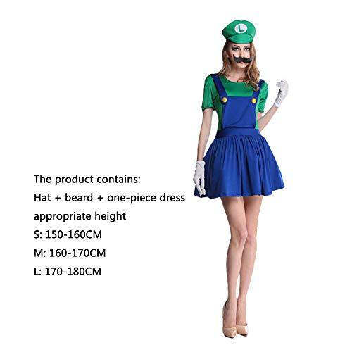 ASJUNQ Mario Louis Super Mario Kleiderparty Halloween Kleidung Super Mary Onesies Movie Props,Ladies-L