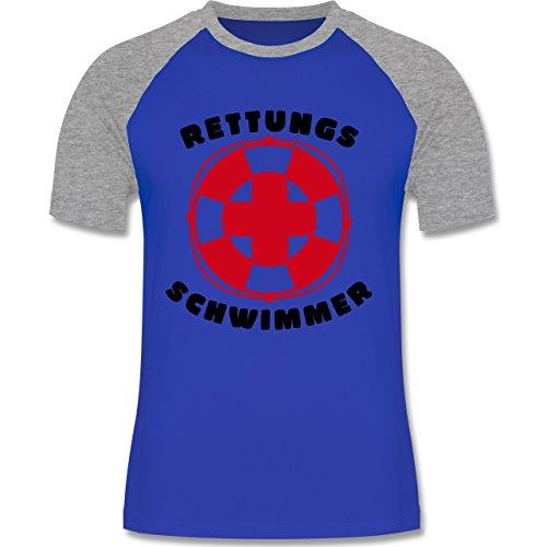 Wassersport - Rettungsschwimmer - zweifarbiges Baseballshirt für Männer Royalblau/Grau meliert