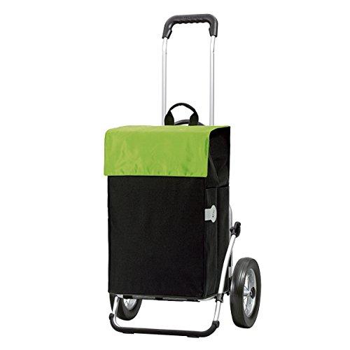 Andersen Chariot de courses Royal avec sacoche Hera verte, volume 44L, cadre aluminium et roues à rayons métalliques
