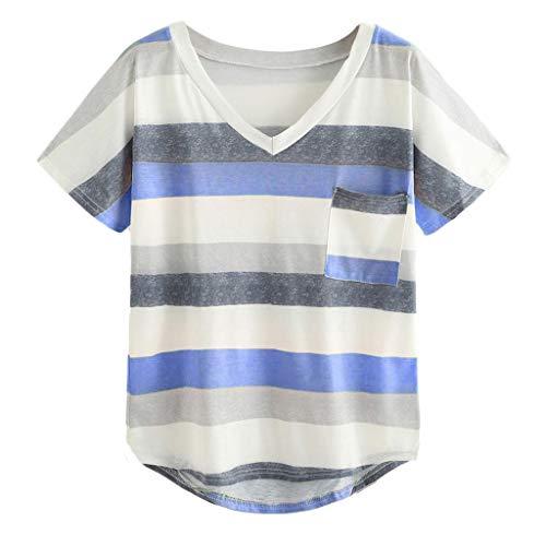 Zegeey Damen T-Shirt Streifen V-Ausschnitt Kurzarm Block Farbe Sommer Tops Hemden Bluse Oberteile(Blau,L)