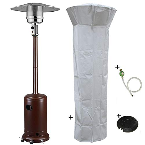 Heizpilz Gas 14 kW braun gehämmert Terrassenheizkörper (inklusive Schutzhülle und Abdeckung)