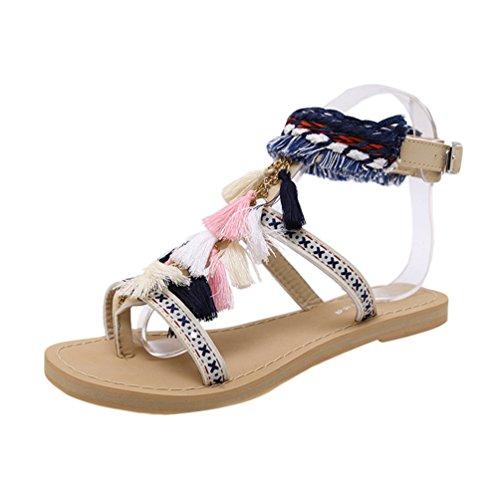 NiSeng Femmes Chaussure Sandale Boucle Sandales À Franges Plat Sandale Shoes De Plage Sandales Abricot