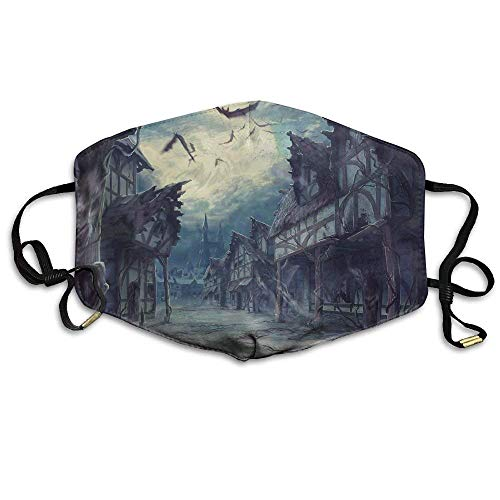 Night Moon House Halloween Horror Bats Comfortable Anti Pollution Breathable Health Masks Mouth Face Mask ()