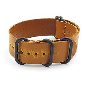 26mm Feu Style Ancien en cuir G10 Nato Zulu Bande de montre / anneaux noirs