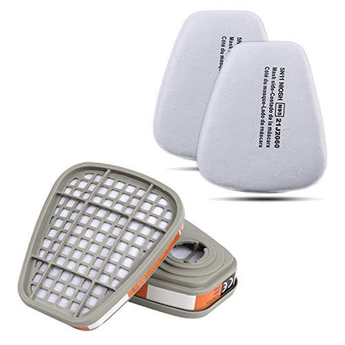 Filter für Atemschutzmaske Zelbuck 2X Aktivkohlefilter und 2X Partikelfilter für Staubmaske Lackiermaske Atemschutz Halbmaske und Gasmaske Ersatzfilter Einlegefilter für Gase Dampf und Partikel