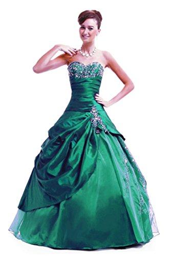 Zorayi Damen Trägerlos Taft Prinzessin Lang Prom Ballkleid Abendkleid Partykleider Smaragd Größe 42 (Partykleid Smaragd Grün)