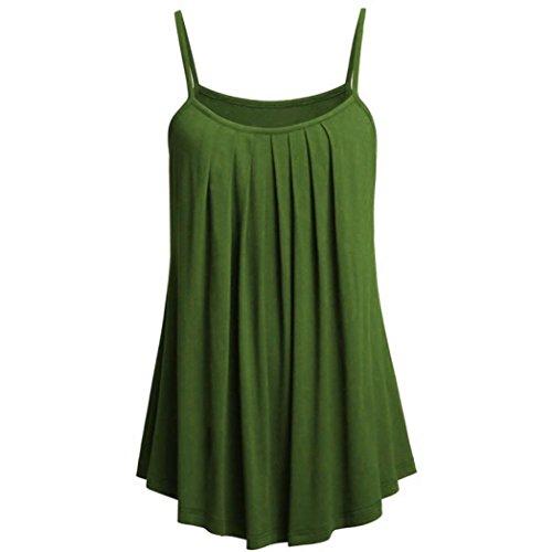BHYDRY T-Shirt-Oberteile Damen Übergröße Cami Basic Leibchen Tank Top Damen Lose Tops, S ~ 6XL(XXXXXX-Large,Grün) -