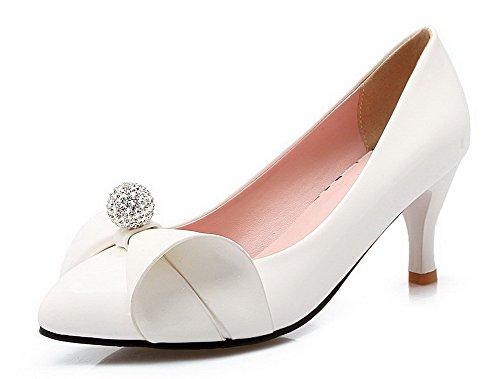 AgooLar Femme Pu Cuir Couleur Unie Tire Pointu à Talon Correct Chaussures Légeres Blanc