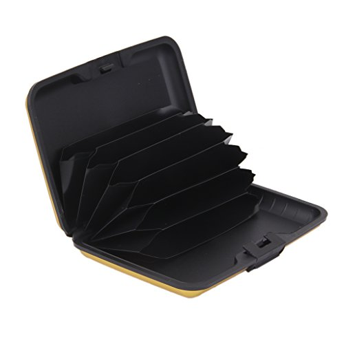 MagiDeal Men Fashionable Durable Multi-Functional Aluminium Credit Card Holder Case Wallet Organiser Gold 11x 7.5 x 2cm  available at amazon for Rs.335