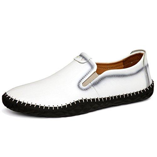 MERRYHE Klassische Bootsschuhe Für Männer Flache Müßiggänger Driving Shoe Deck Schuhe Business Formal Dress Schuhe,White-39 - White Formal Dress