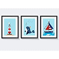 Kinderzimmer Poster maritim - Kinderbilder maritim - Poster Kinderzimmer Tiere Set - blau hellblau rot in A4 - auch in A3 erhältlich