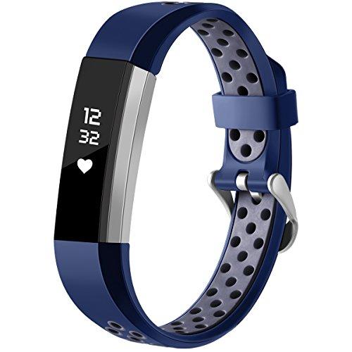 HUMENN Für Fitbit Alta HR Armband, Zwei-Farben Weich Silikon Ersatzarmband Smartwatch Sport Band für Fitbit Alta/Alta HR Herzfrequenz Fitnessaufzeichnung, Groß Blau/Grau Großes Armband