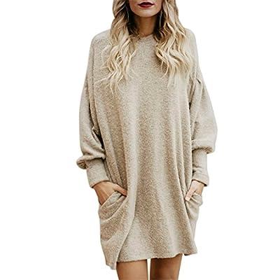 Damen Tasche Langer Pullover Langer beiläufiger Mini Abendkleid für Frauen,FRIENDGG Mädchen Beiläufig Elegante Herbst Winter Frühling Mode Party Rock Kleid,Weihnachtsgeschenke für Frauen