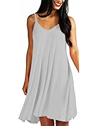 ARAMONIAT ® Womens Casual Plain Simple T-Shirt Loose Summer Dresses Sundress