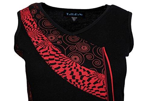 Estate senza maniche con scollo a V Patch Vestito da donna, con stampa - Fiordaliso rosso y nero