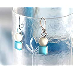 Gin and Tonic Earrings - Recycled Bombay Sapphire and Tonic Water Bottles - Sea Glass and Sterling Silver