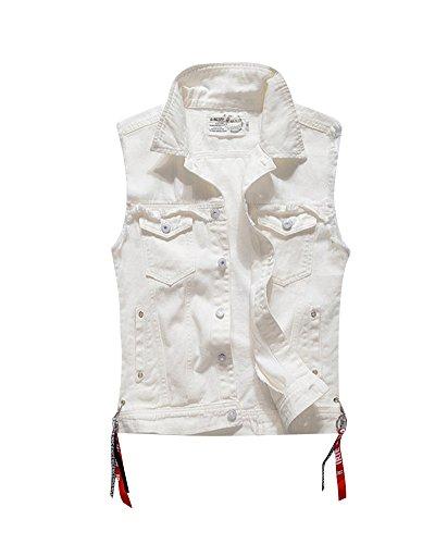 Herren Slim Fit Ärmellose Weste Retro Vintage Denim Jeans Weste Jeansjacke Vest Weiß M (Weiß Jean Vest)
