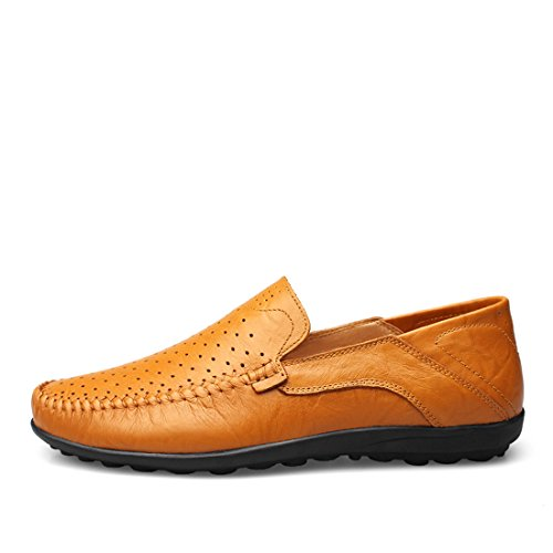 Minitoo Boys Mens Mesh Breathable Fashion Daily Loafers Light Brown
