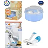 Powder Puff with Box and Nail Clipper with Magnifying Glass for Kids Combo Pack of 2 by Wishkey | Powder Puff with Case for Babies | Safety Nail Cutter with Magnifier BPA free Easy Grip For New Born Baby Cutting Nails
